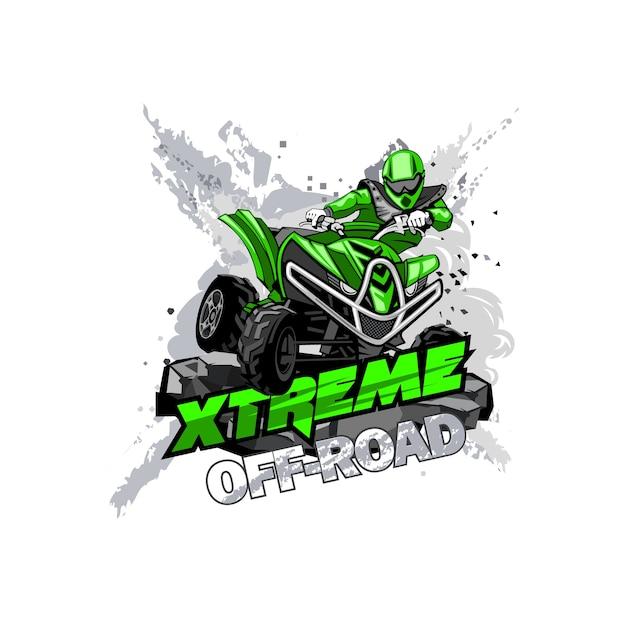 Quad off-road atv-logo, extreme off-road Premium Vector
