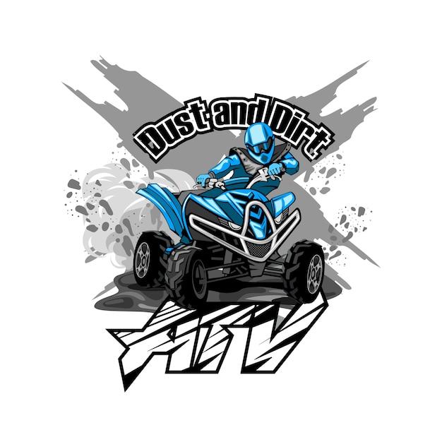 Quad off-road atv-logo, stof en vuil Premium Vector
