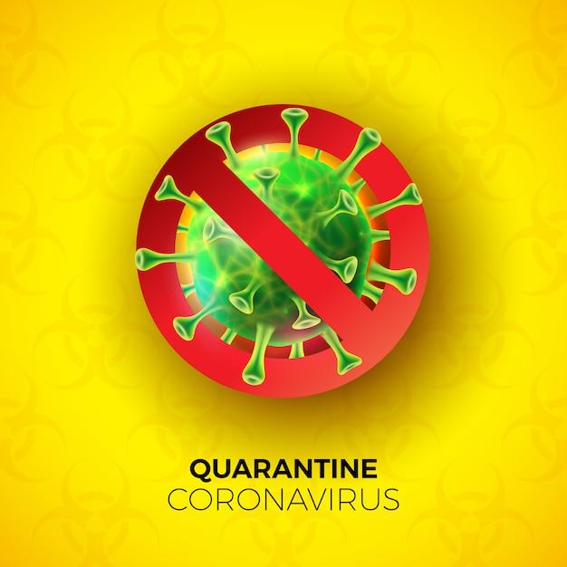 Quarantaine coronavirus-ontwerp met covid-19-viruscel op biologisch gevarensymbool Gratis Vector