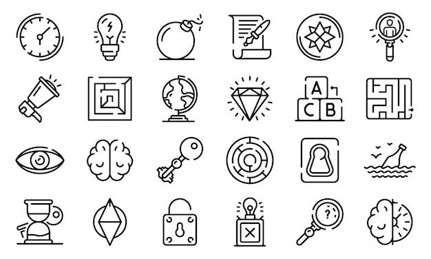 Quest iconen set, kaderstijl Premium Vector
