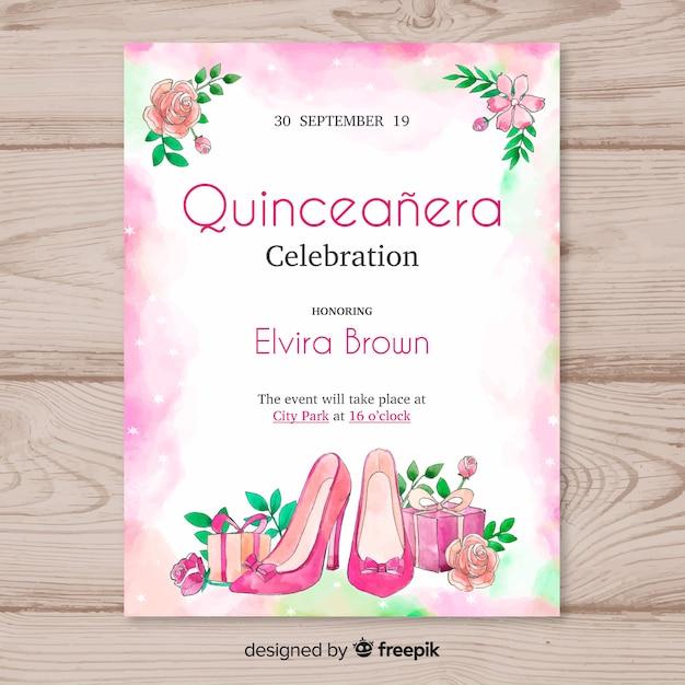 Quinceañera feestuitnodiging met hoge hakken Gratis Vector