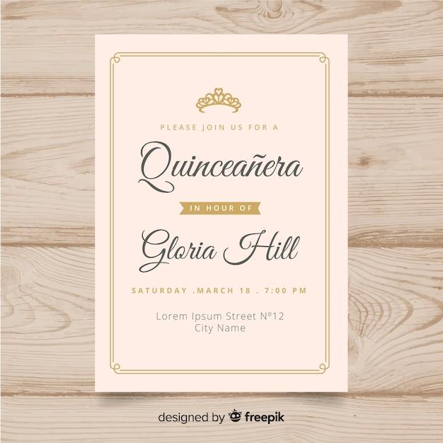 Quinceañera feestuitnodiging Gratis Vector