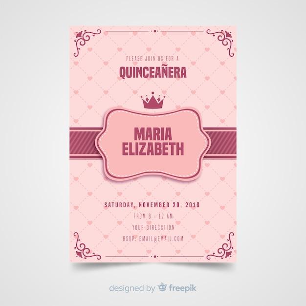 Quinceanera harten uitnodiging sjabloon Gratis Vector