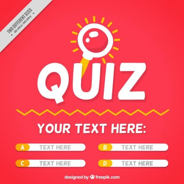 Quiz achtergrond met vraag en vier opties Gratis Vector