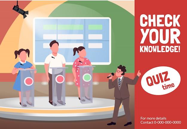 Quiz toont platte sjabloon. educatieve kinderlijke programmabrochure, poster conceptontwerp met stripfiguren. Premium Vector