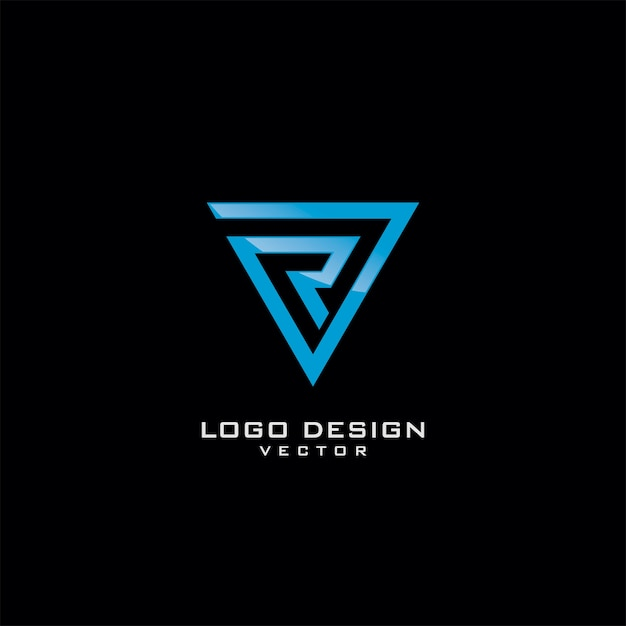 R letter in driehoek line art logo design Premium Vector