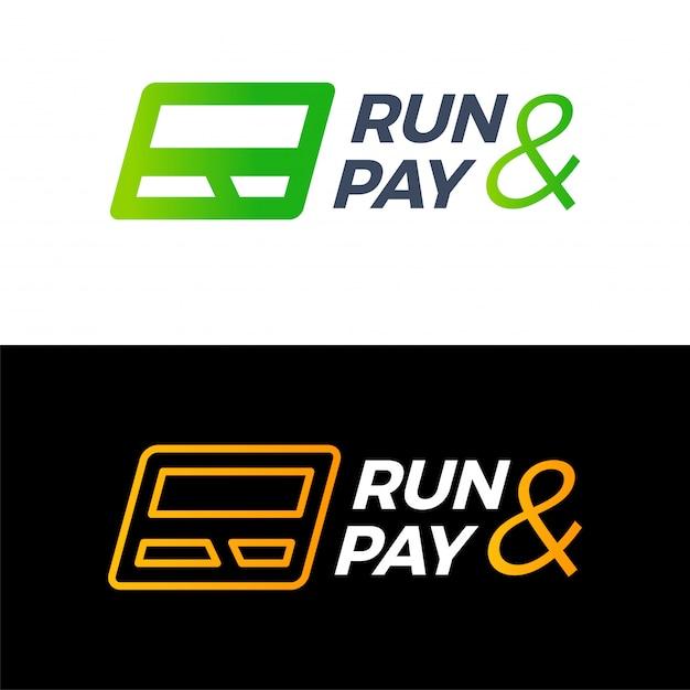 R letter run en betaal creditcard logo technologie geld. Premium Vector