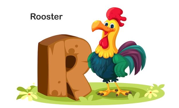 R voor rooster Premium Vector