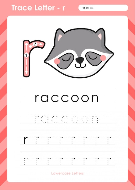 R wasbeer: alfabet az overtrekken werkblad - oefeningen voor kinderen Premium Vector