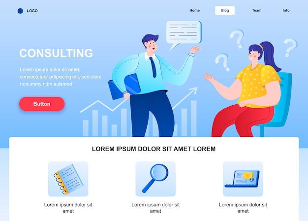 Raadpleging van platte bestemmingspagina. consultant praten met client webpagina. Premium Vector