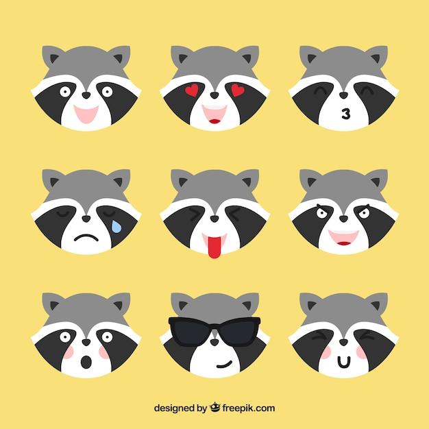 Raccoon emoticons met verschillende gezichtsuitdrukkingen Gratis Vector