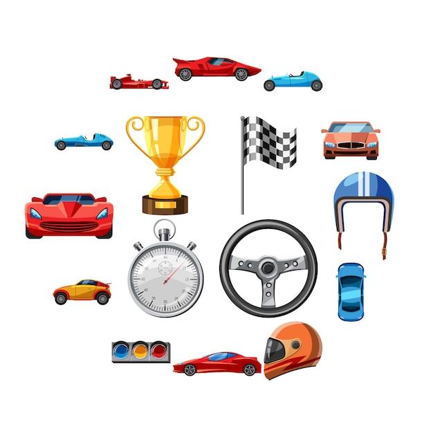Race iconen set, cartoon stijl Premium Vector
