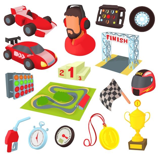 Race pictogrammen instellen in cartoon stijl Premium Vector