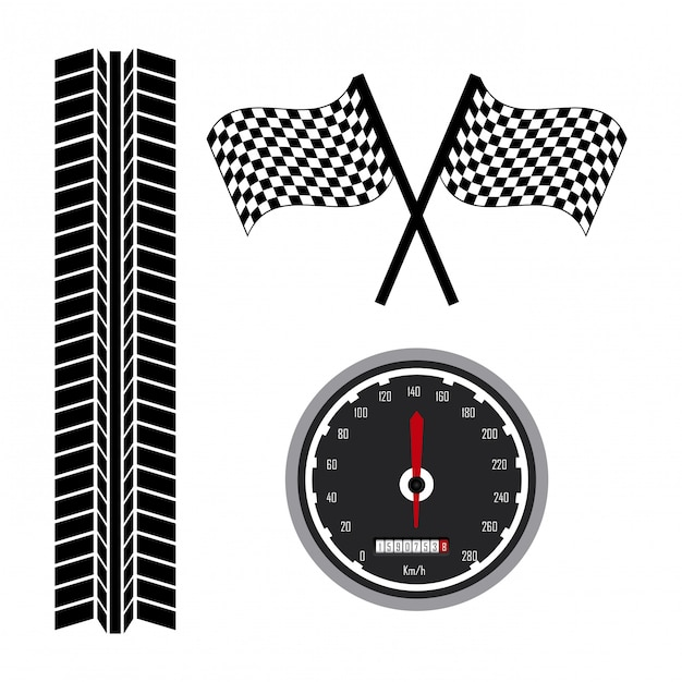Race pictogrammen over witte achtergrond vectorillustratie Premium Vector