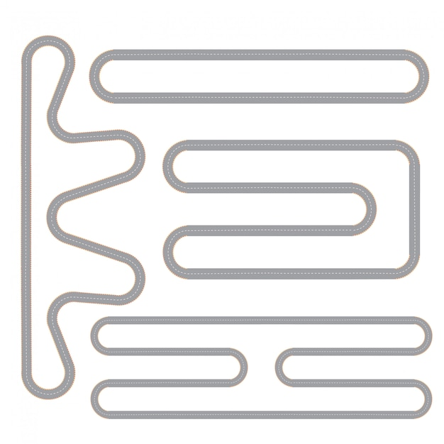 Race track vier geïsoleerde patronen ingesteld Gratis Vector