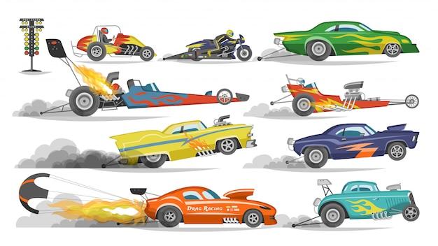 Raceauto drag racen op speedcar op een track en auto bolide rijden op rally sport evenement formule grandprix racebaan illustratie ingesteld op witte achtergrond Premium Vector