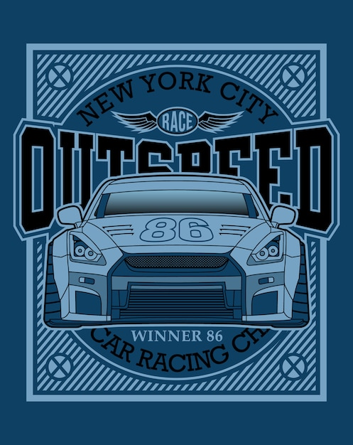 Raceautotypografie, grafische illustratie Premium Vector