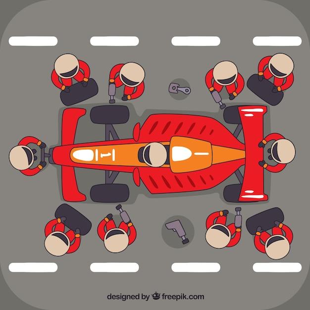 Racer stop werknemers Gratis Vector
