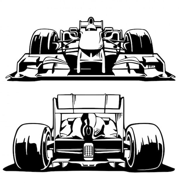 Racewagen voor- en achteraanzicht. Premium Vector