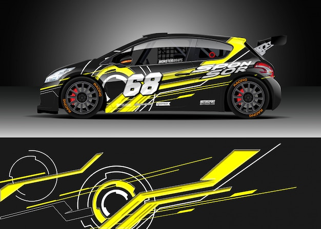 Racewikkel wrap ontwerpen Premium Vector