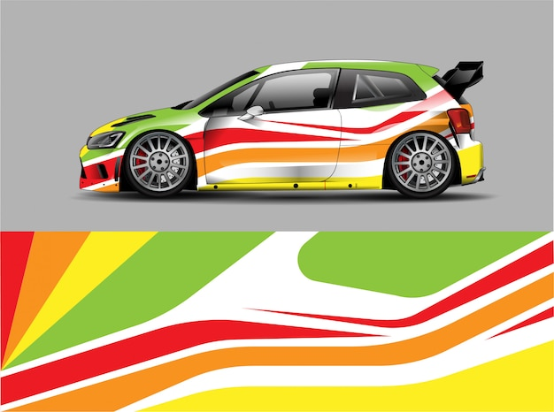 Racing car wrap sticker ontwerpconcept Premium Vector