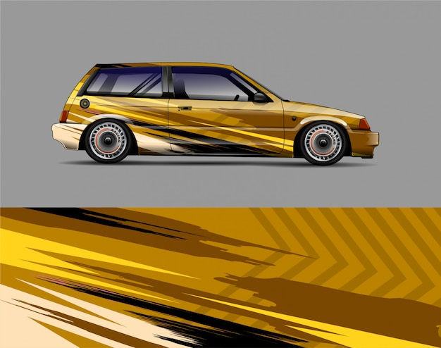Racing car wrap sticker ontwerpconcept Premium Vector