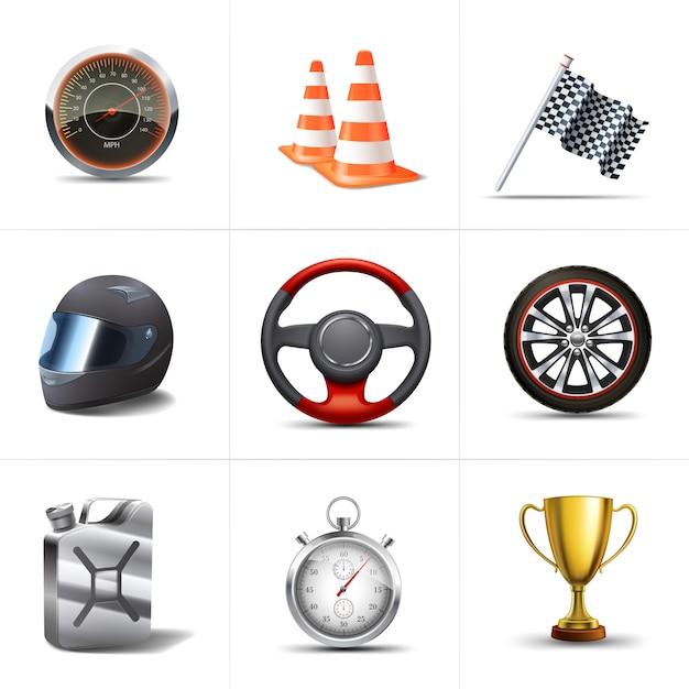 Racing decoratieve pictogrammen instellen Gratis Vector