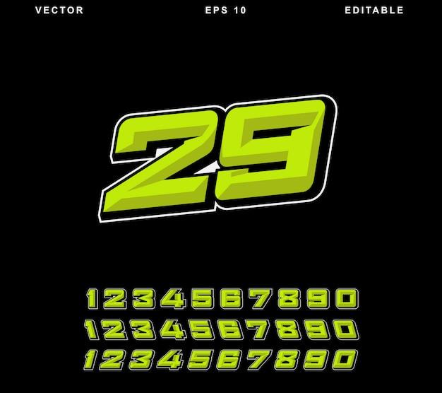 Racing nummer geel Premium Vector