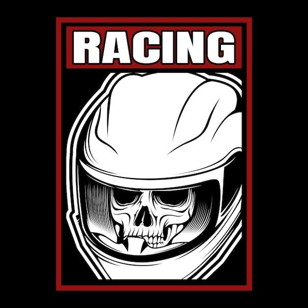Racing schedel helm hand tekenen Premium Vector