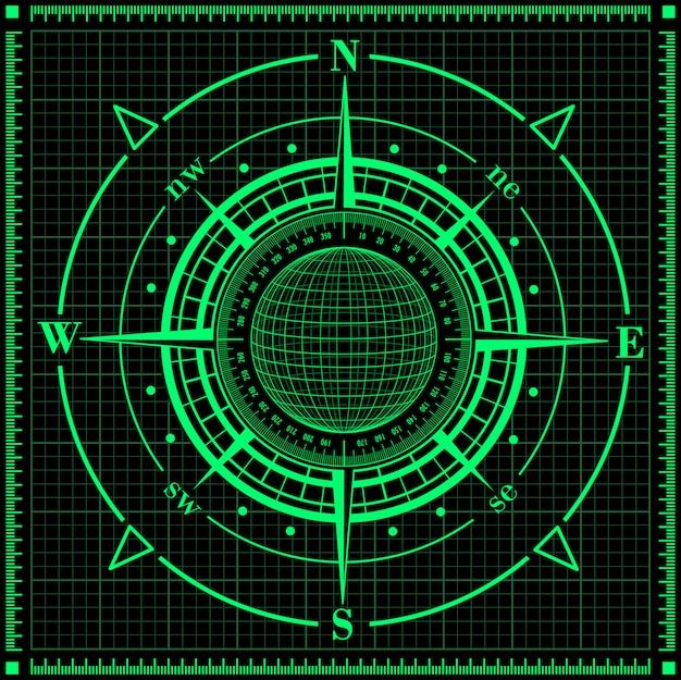 Radar windroos met globe. Premium Vector