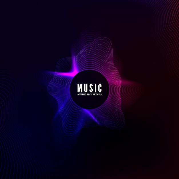 Radiale geluidsgolfcurve. kleurrijke equalizervisualisatie. abstracte kleurrijke dekking voor muziekaffiche en banner. achtergrond Premium Vector