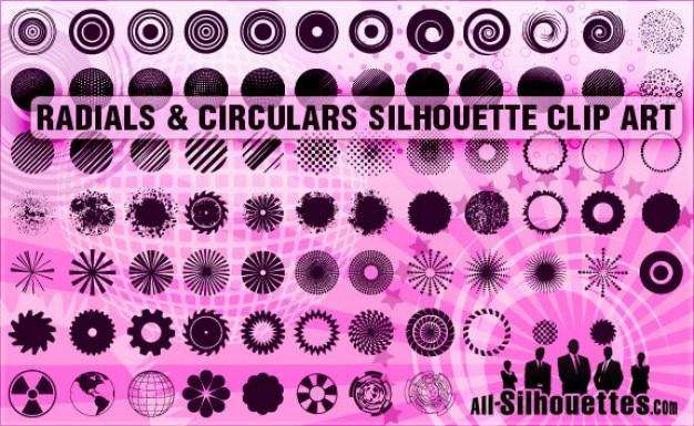 Radialen & circulaires silhouetten clipart Gratis Vector