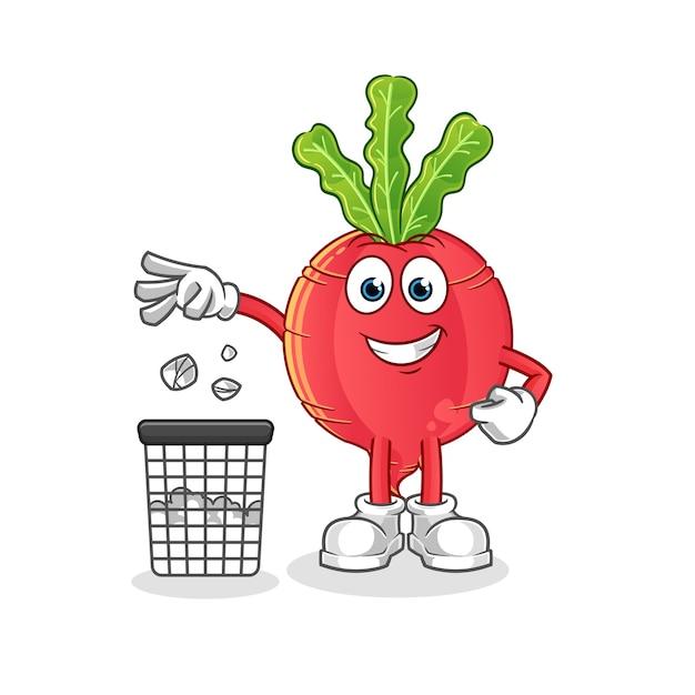 Radijs gooi huisvuil in de mascotte van de vuilnisbak Premium Vector