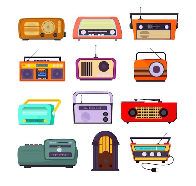 Radio-apparaten ingesteld Gratis Vector