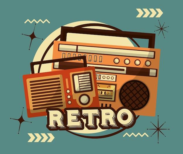 Radio en boombox stereo cassette retro vintage Premium Vector