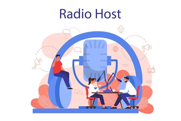 Radio gastheer concept. idee van nieuwsuitzending in de studio. dj bezetting. persoon die door de microfoon spreekt. geïsoleerde vectorillustratie in cartoon stijl Premium Vector