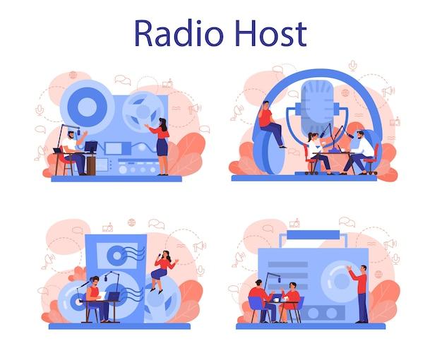 Radio host concept set. idee van nieuwsuitzending in de studio. dj bezetting. persoon die door de microfoon spreekt. Premium Vector