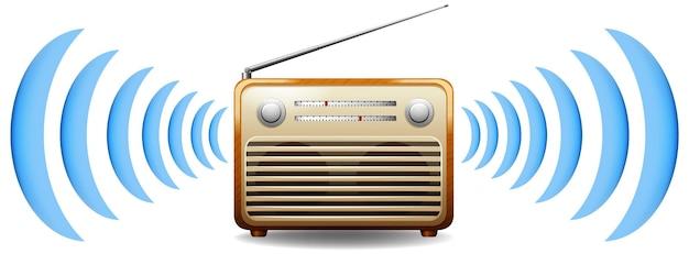 Radio met geluidsgolf Gratis Vector
