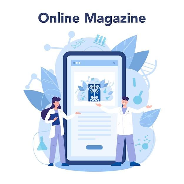 Radioloog online service of platform. arts die röntgenfoto van het menselijk lichaam onderzoekt. online tijdschrift. Premium Vector