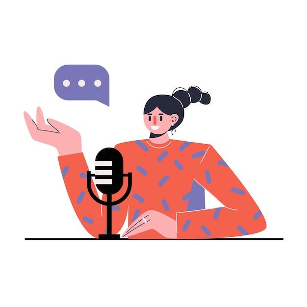 Radiopresentator. media hosting. vrouwelijke podcaster. concept van online internetradio. Premium Vector