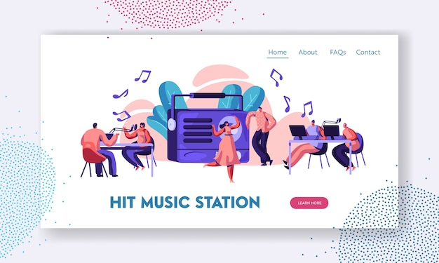 Radiostation show playing music landing page. Premium Vector