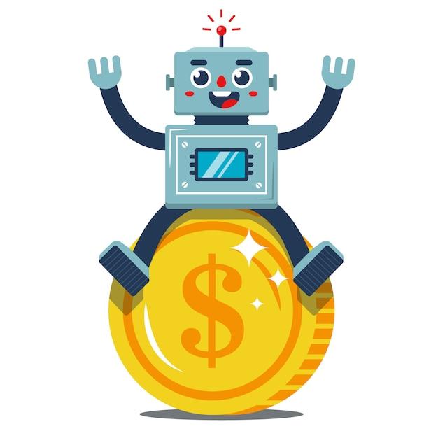 Rados robot zit op een grote gouden munt. passief inkomen. vrolijke werker. platte vectorillustratie Premium Vector