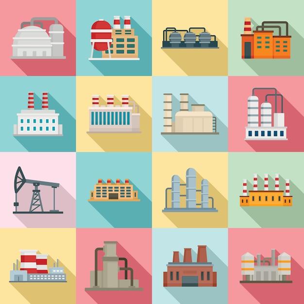 Raffinaderij plant iconen set, vlakke stijl Premium Vector