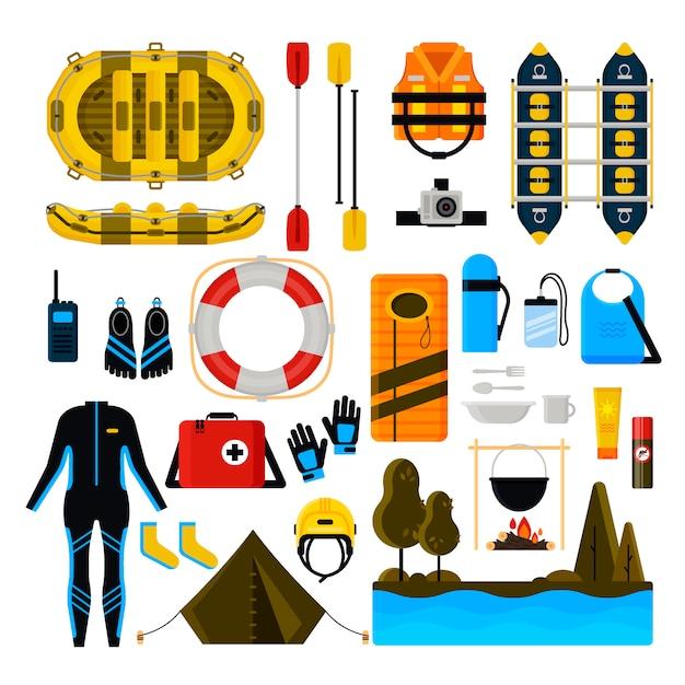 Rafting icon set vector geïsoleerde illustratie Premium Vector