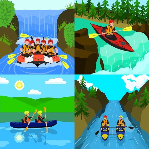 Rafting illustratie set. vlakke afbeelding van raften Premium Vector