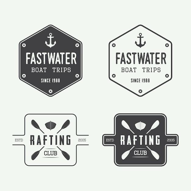 Rafting logo badges Premium Vector