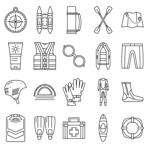 Rafting pictogramserie. overzichtset van rafting vector iconen Premium Vector