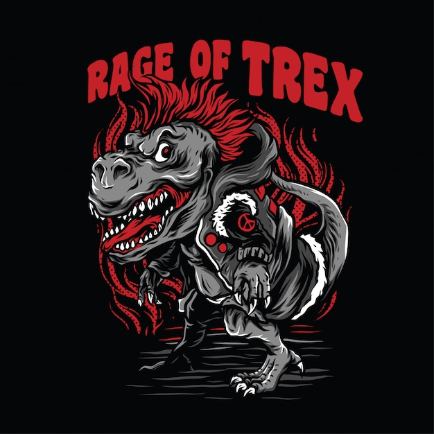 Rage of t-rex illustration Premium Vector