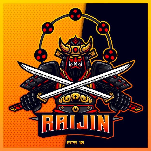 Raijin gold samurai grijpt zwaard esport- en sportmascotte-logo-ontwerp in een modern illustratieconcept voor teambadge, embleem en dorstdruk. ninja-illustratie op gouden achtergrond. illustratie Premium Vector
