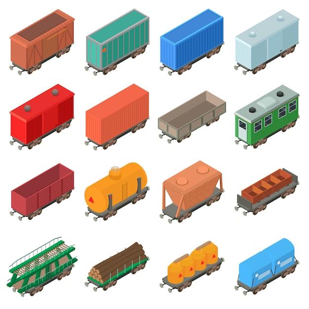 Railway carriage icons set. isometrische illustratie van 16 spoorwegwagon vectorpictogrammen voor web Premium Vector